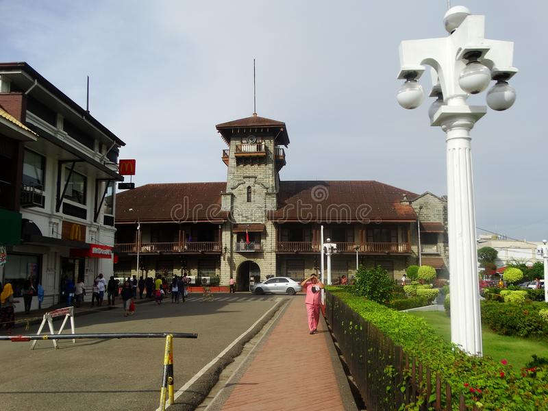 Zamboanga street scene, Mindanao, Philippines. Old city hall in Zamboanga, Mindanao, Philippines royalty free stock images