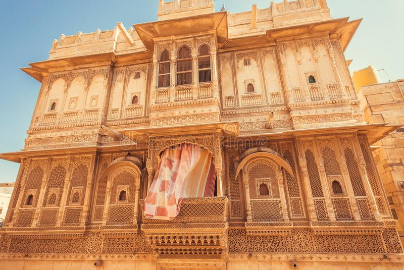 Old city house with carvings on balcony and walls. Indian tradition of architecture royalty free stock images