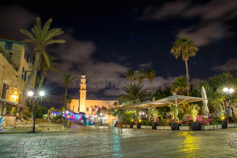 Old city Jaffa. Stone old city Jaffa in Tel Aviv at night royalty free stock photography