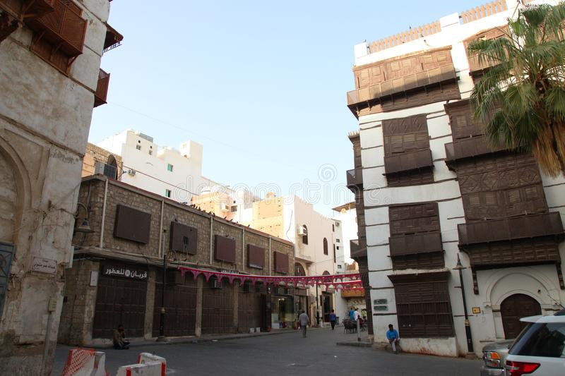 Old city in Jeddah, Saudi Arabia known as `Historical Jeddah`. Old and heritage buildings and roads in Jeddah.Saudi Arabia 15-06-2. 018 Balad Shopping area at royalty free stock images