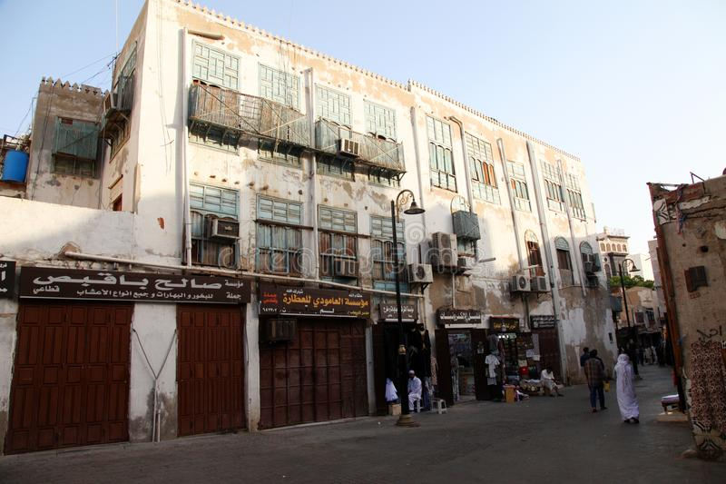 Old city in Jeddah, Saudi Arabia known as `Historical Jeddah`. Old and heritage buildings and roads in Jeddah. Saudi Arabia 15-06-. 2018 Balad Shopping area at stock photos