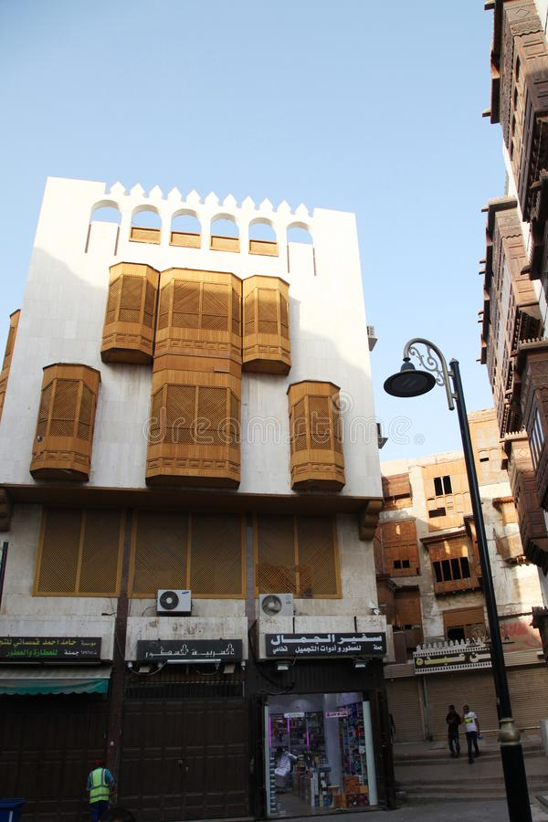 Old city in Jeddah, Saudi Arabia known as `Historical Jeddah`. Old and heritage buildings and roads in Jeddah.Saudi Arabia 15-06-2. 018 Balad Shopping area at stock photos