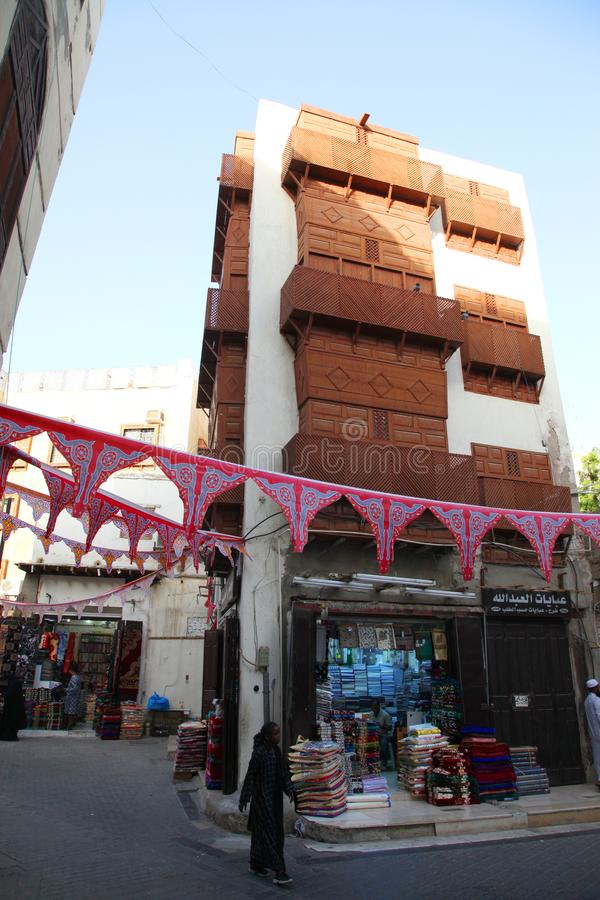 Old city in Jeddah, Saudi Arabia known as `Historical Jeddah`. Old and heritage buildings and roads in Jeddah.Saudi Arabia 15-06-2. 018 Balad Shopping area at stock image