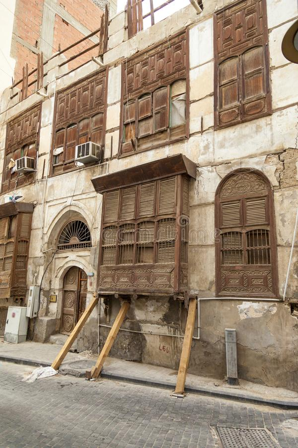 Old city in Jeddah, Saudi Arabia known as Historical Jeddah. Ancient building in UNESCO world heritage historical village Al Balad. Saudi Arabia royalty free stock images