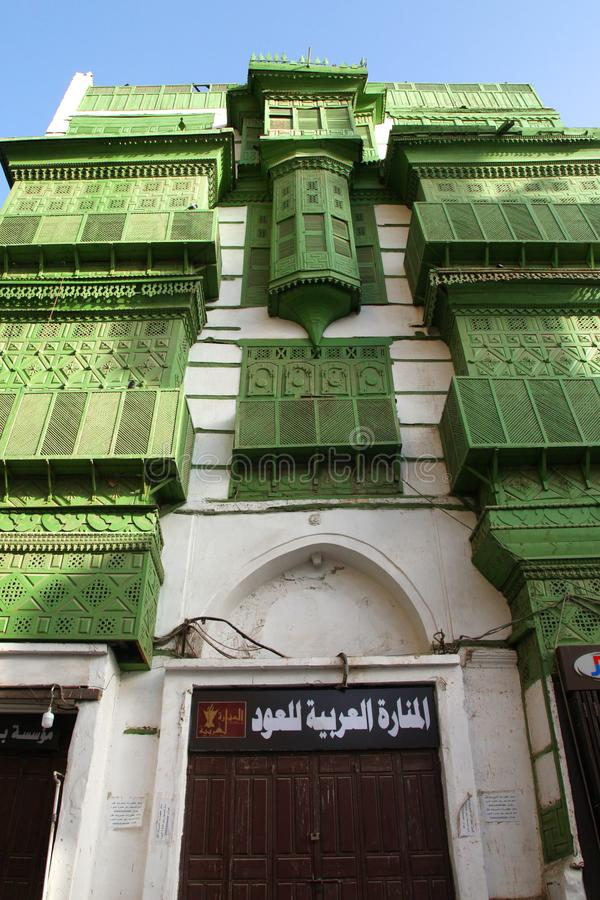 Old city in Jeddah, Saudi Arabia known as `Historical Jeddah`. Old and heritage buildings and roads in Jeddah.Saudi Arabia 15-06-2. 018 Balad Shopping area at stock photo