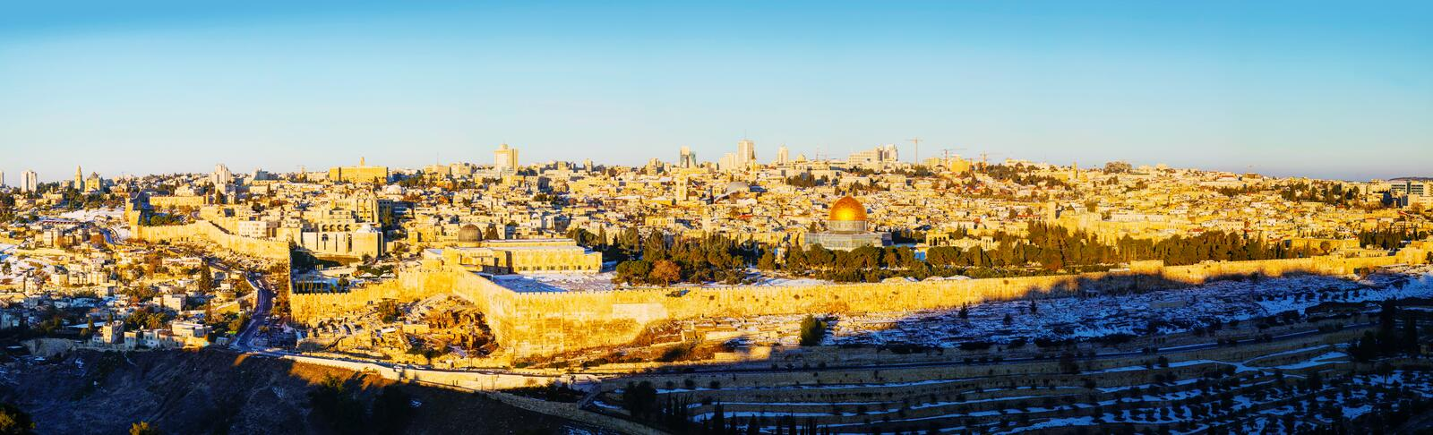Old City in Jerusalem, Israel panorama. Panorama of Old City in Jerusalem, Israel with The Golden Dome Mosque stock images