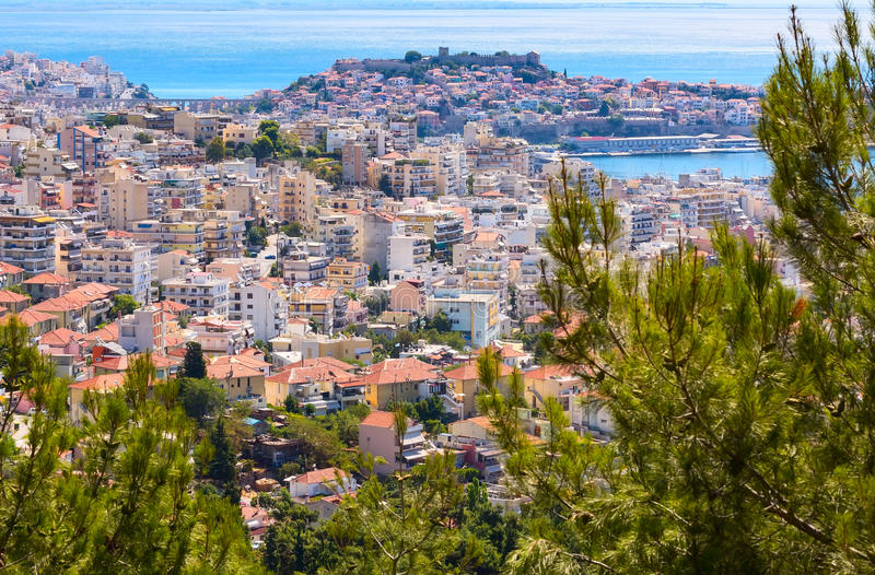Old city in Kavala, Greece. Old city and sea view in Kavala, Greece royalty free stock photo