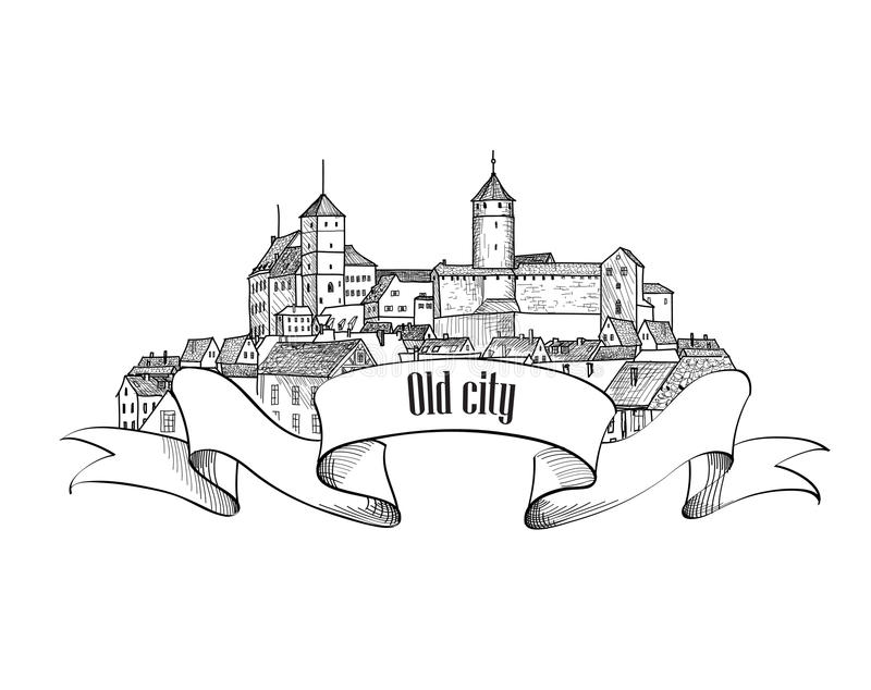 Old city label isolated. Downtown view. Medieval european castle. Landscape. Pensil drawn sketch vector illustration