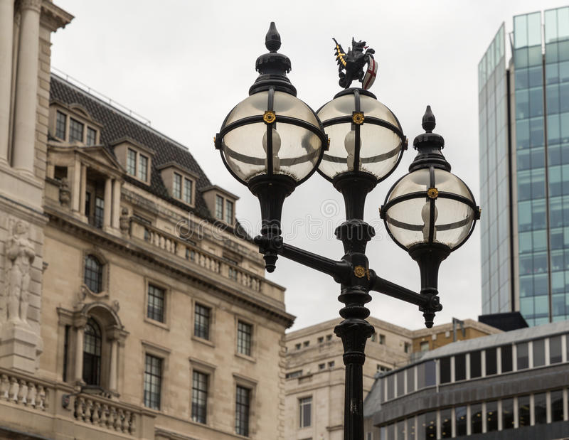 The old City of London Street Lights near the Bank of England stock images