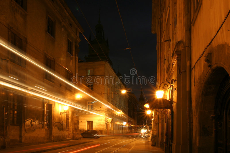 Old city at night royalty free stock images