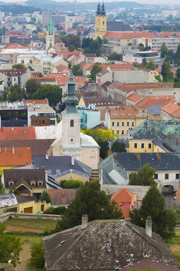 Old city Nitra, Slovakia. Aerial view. City Nitra, Slovakia. View from above with the town hall on the old city and colorful roofs. Tourist destination royalty free stock photography