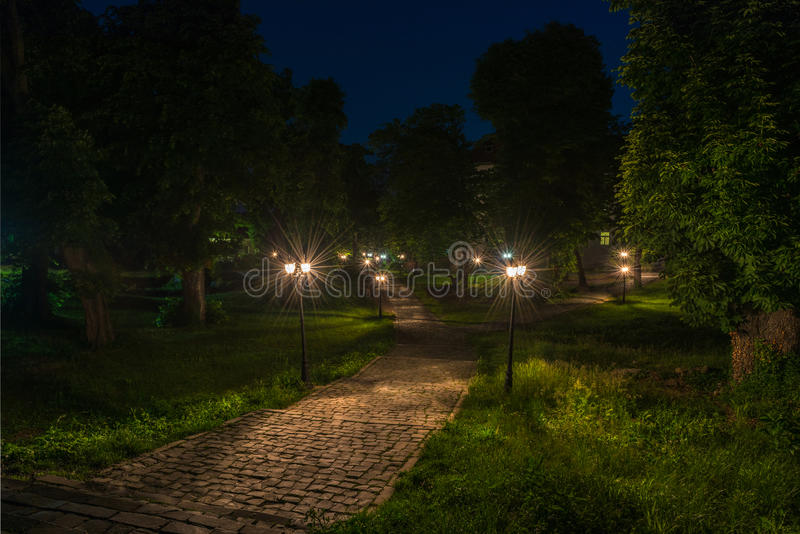 Old city park at night with a paving stone, greenery and lanterns. Uzhhorod castle, Transcarpathia, Ukraine stock photo