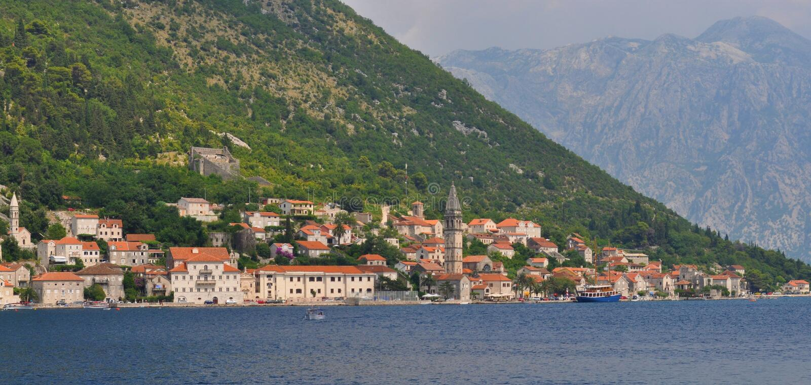 The old city of Perast stock image