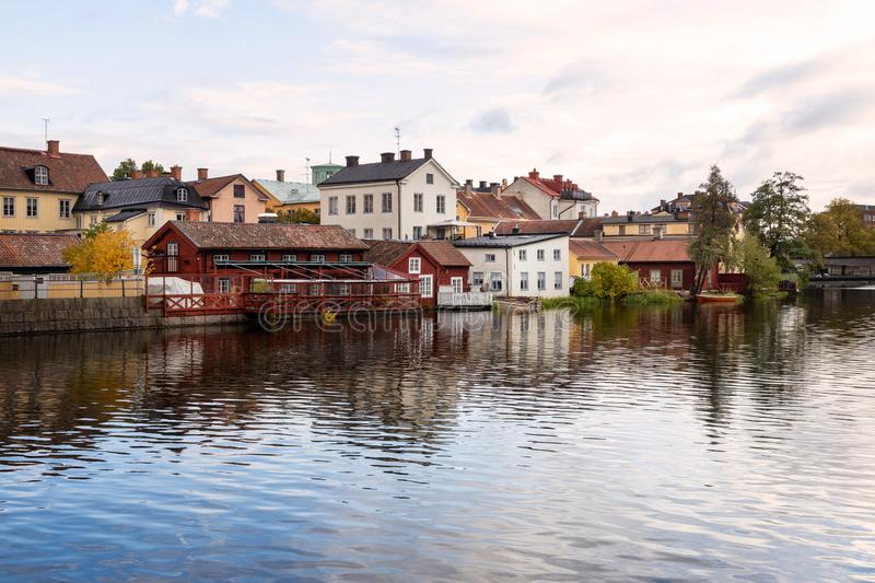 Old city by the river in Eskilstuna, Sweden. View of the old town gamla staden in Eskilstuna close to the Eskilstuna river royalty free stock photos