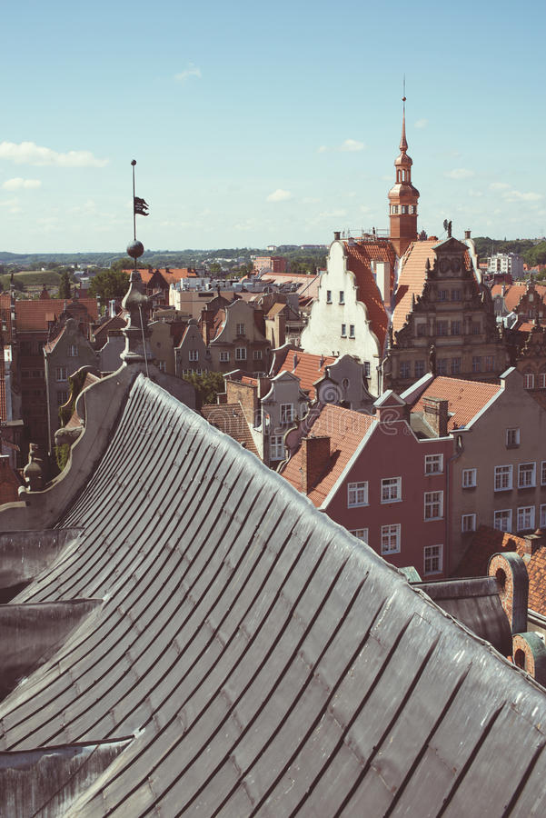 Old city roofs. View from above to the Gdansk Old City, Poland stock photo