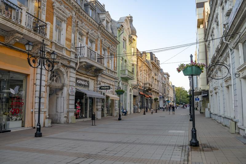 The street in Ruse in Bulgaria. Old city Ruse in Bulgaria. The city is located near the border with Romania stock photos
