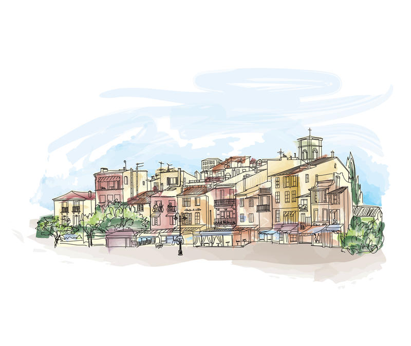 Old city street with shops and cafe. European cityscape. Cityscape - houses, buildings and tree on alleyway. Old city view. vector illustration