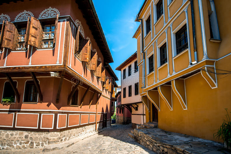 Old city street view in Plovdiv royalty free stock image