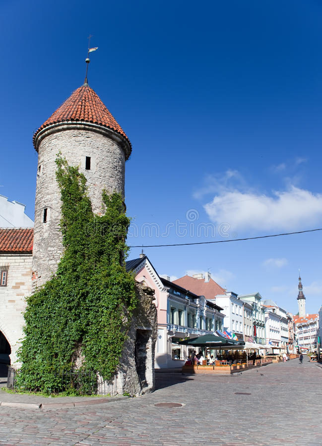 Old City. Tallinn, Estonia the entrance from the Viru Gate. stock photo