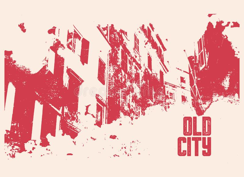 Old City typographic vintage poster design. Old house grunge scratched texture background. Retro vector illustration. Old City typographic vintage poster design stock illustration