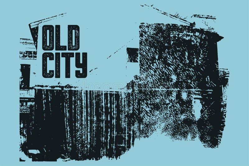 Old City typographic vintage poster design. Old house grunge scratched texture background. Retro vector illustration. stock illustration