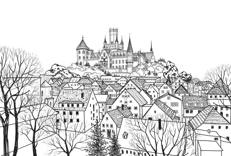 Old city view with buildings and castle on background. Medieval. Old city view with castle on background. Medieval european castle landscape. Pencil drawn sketch royalty free illustration