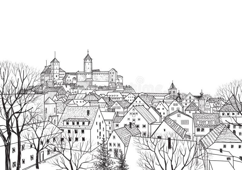 Old city view. Medieval european castle landscape. royalty free illustration