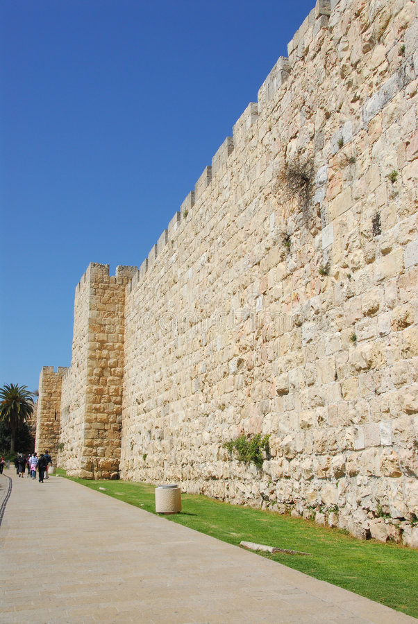 Old City Wall. Old City exterior wall near Jaffa gate, Old City Jerusalem Israel royalty free stock photos