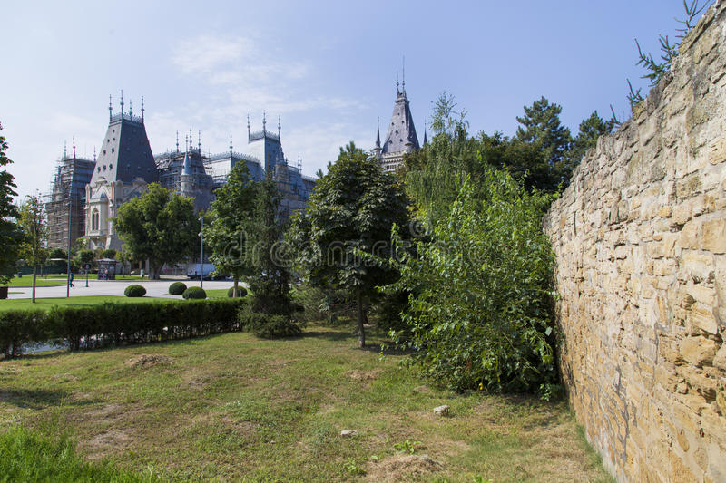 Old city wall. And the Culture Palace from Iasi, Romanai stock image