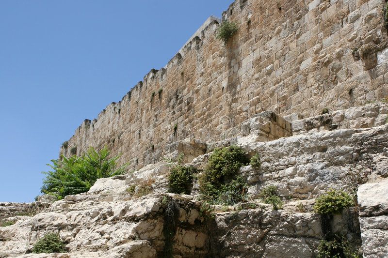 Old City Wall of Jerusalem, Israel. Looking up from the base of the Old City Wall of Jerusalem in Israel stock images