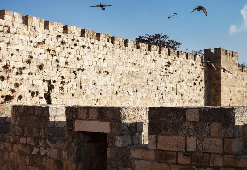 Old city wall. In Jerusalem stock image