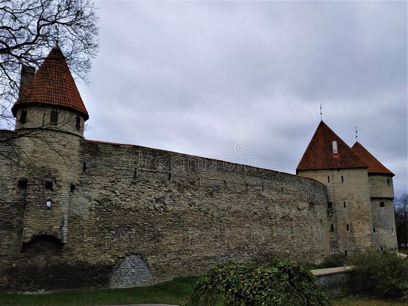 Old city wall of upper town of Tallinn. Estonia stock photos