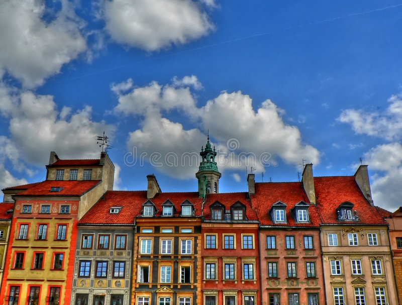 Old city in Warsaw stock photo