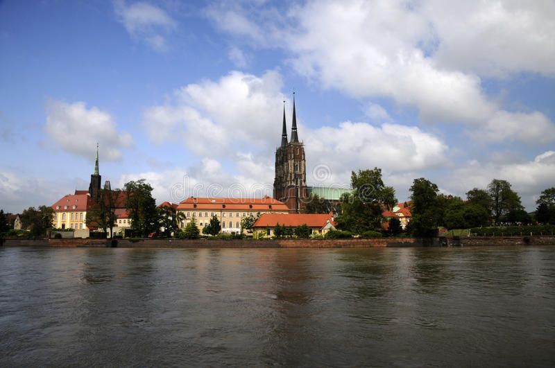 Old city Wroclaw at the river royalty free stock images