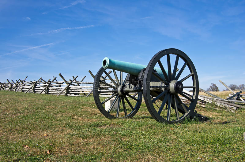Old Civil War Cannon. Civil War cannon in the afternoon sun of a warm autumn day royalty free stock images