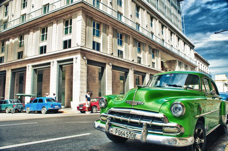 old classic american car parked on the street royalty free stock photography