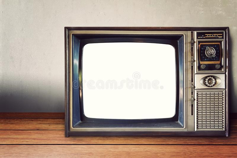 Old classic analog television vintage style with empty blank white screen stock image