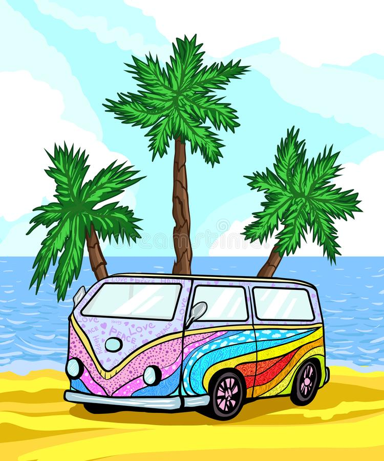 Old classic camper minivan on beach among palm trees and sand, near ocean. Vintage Retro car. Hippie transport with airbrushing. Colorful summer hippy camper van royalty free illustration