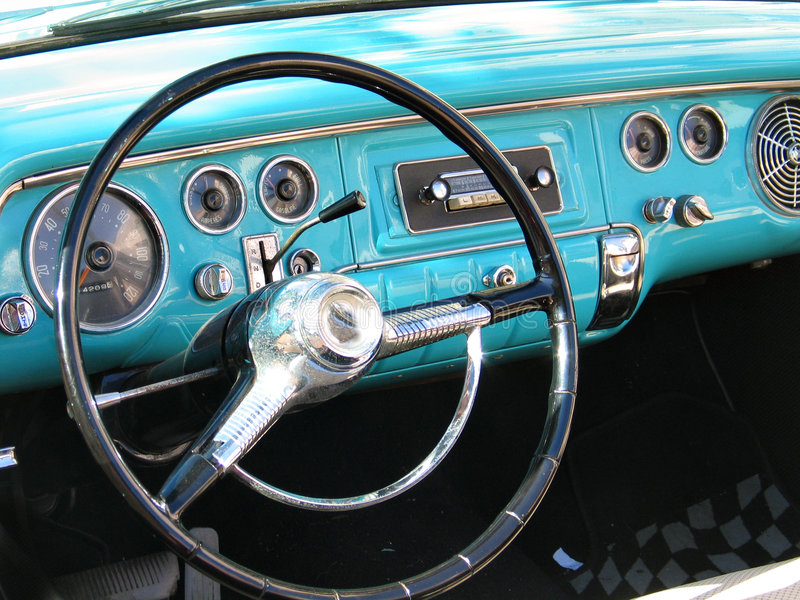 Old classic car dashboard. Old classic American car dashboard royalty free stock images