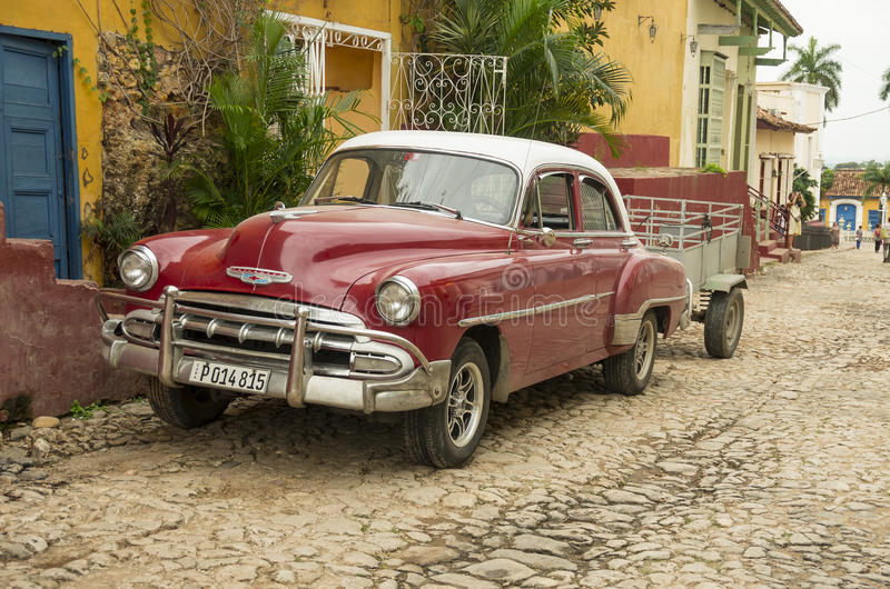 Old classic car in Trinidad, Cuba stock images