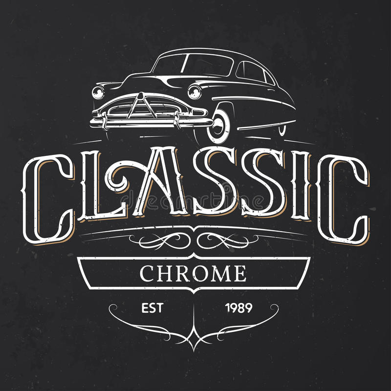Download old classic car typography poster stock vector illustration of logotype illustration