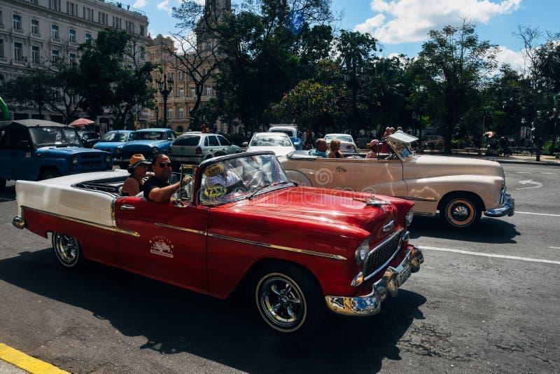 Old classic cars in Havana, Cuba. 2 beautiful classic cars in Havana, Cuba stock photo
