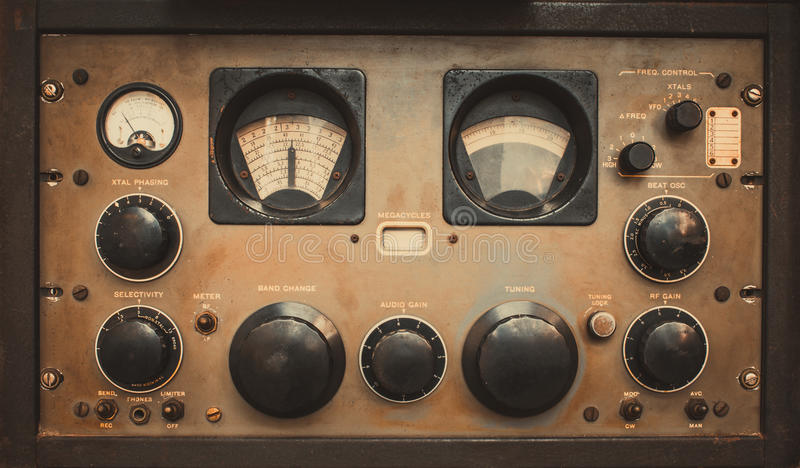 Military communications receiver or radio communication control panel grunge style. royalty free stock images