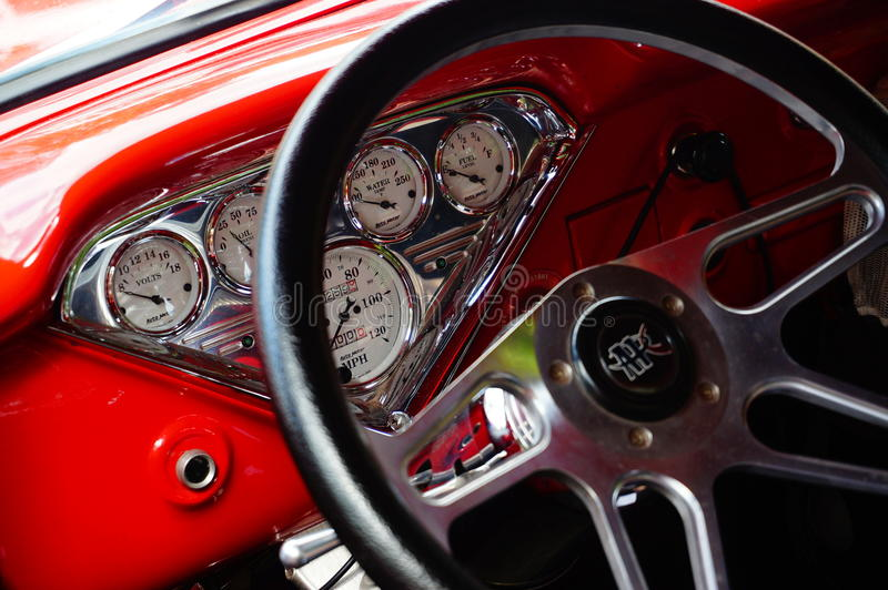 Old classic red car inlet details stock images