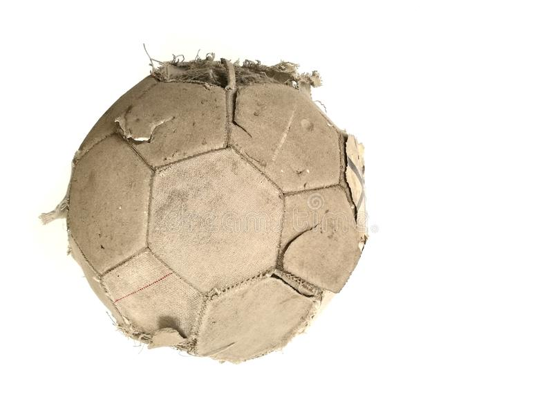 Old classic soccer ball and dirty football of isolated on a whit royalty free stock images