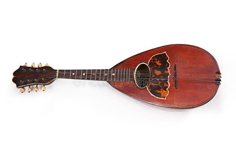 Mandolin on white background. Old classic string musical instrument mandolin isolated on white background stock photography