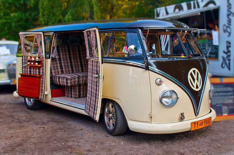 Old And Beautifully Renovated VW T1 Van From 1960 With Side Doors Wide Open Parked At A Car Show In Gdansk Oliwa Poland