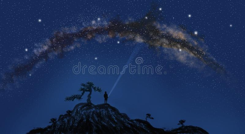 Looking up at the starry sky dreamy starry sky illustration stock illustration