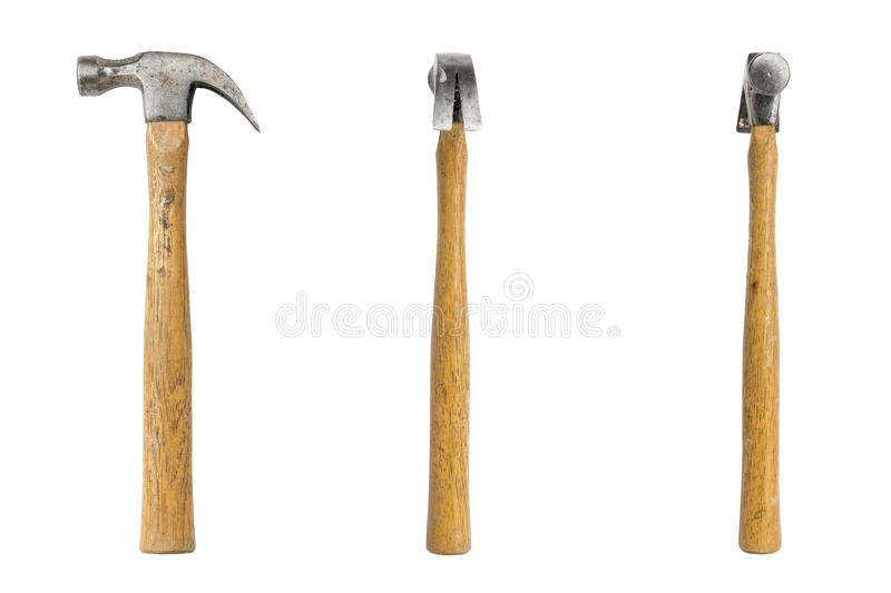 Claw hammer seen from three sides stock images