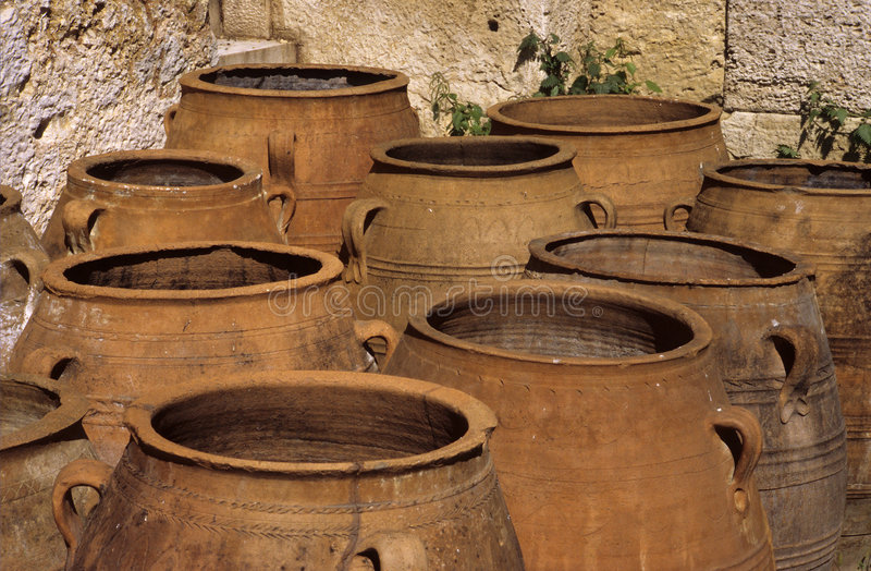 Old clay jars royalty free stock images